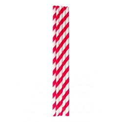 PAPER STRAW RED & WHITE